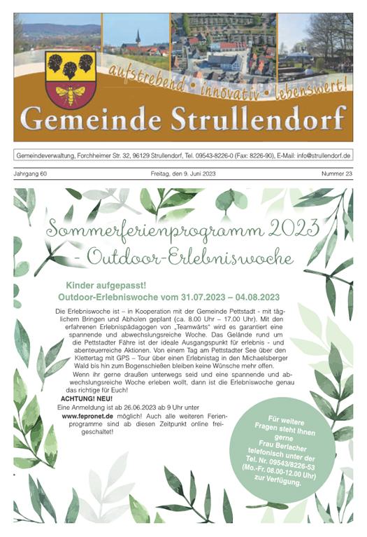 Gemeinde Strullendorf Mitteilungsblatt Kw23