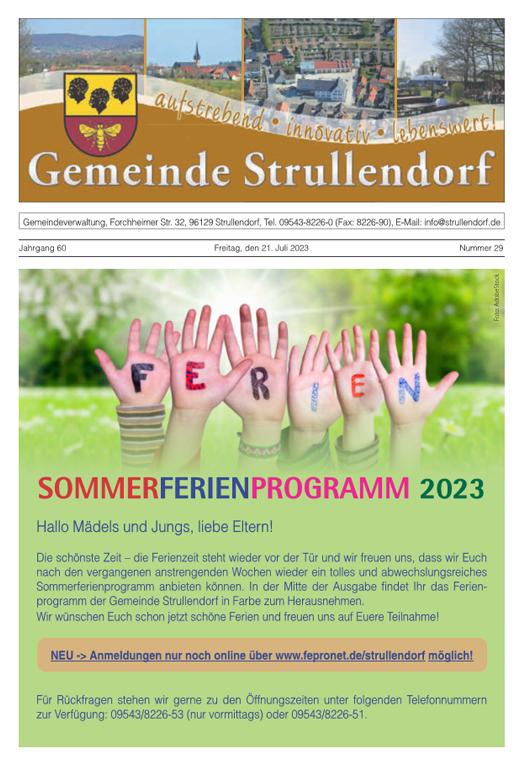 Gemeinde Strullendorf Mitteilungsblatt Kw29